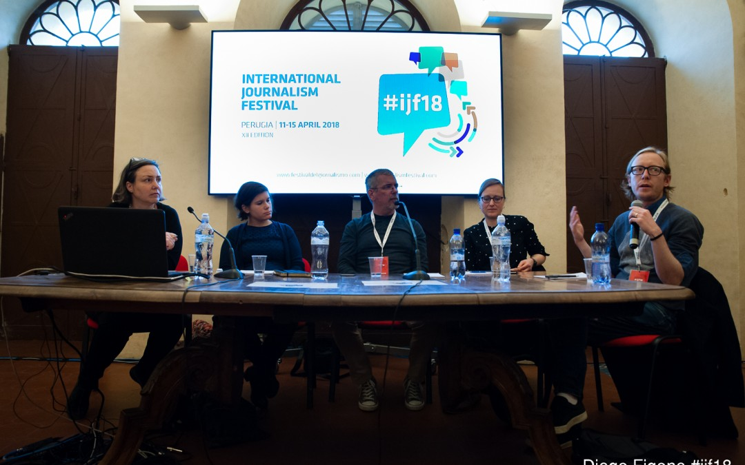 Daniela Kraus speaks at the International Journalism Festival in Perugia